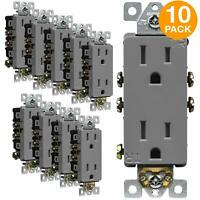 Decorator Receptacle Outlet TR 15A 125V Residential Grade 3 Wire Gray 10 Pack