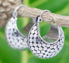 Handmade Sterling Silver .925 Bali Med. Dot Style Hinged Hoop/Huggie Earrings.