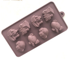 1pcs 8 connected vehicles silicone mold cake chocolate baking tools