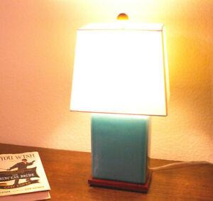 Ralph Lauren Mint Green Crackle Table Desk Accent Porcelain Lamp Original Shade