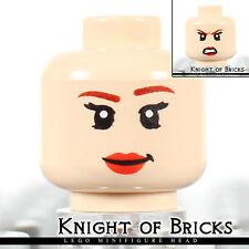 LEGO Minifigure Head LIGHT FLESH Female Dual Sided Red Lips Smile / Angry