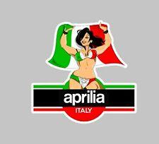 Aprillia Italian Pin-Up Girl Car Sticker 100mm Italy Glamour Custom Rally