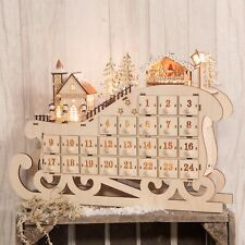Light Up Wooden Crafted Advent Calendar Individual Drawers Village Scene