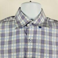 Robert Talbott Carmel Mens Purple Blue Plaid Check L/S Dress Button Shirt Medium