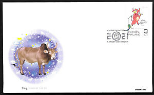 Thailand 2021-1 China New Year of Ox Stamp FDC Zodiac Animal  牛年