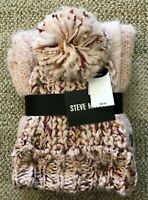 Steve Madden Womens Pom Hat & Scarf Set Pink Multi One Size Warm Winter Beanie