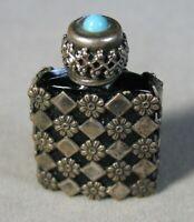 Vintage Art Deco Black Glass & Metal Micro Perfume Bottle FRANCE  #J2832