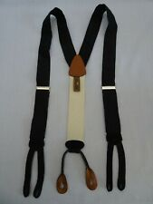Vintage TRAFALGAR Mens Braces Suspenders Black Silk w Black Suede leather tabs