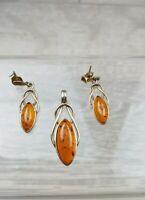 Vintage Art Nouveaua style Silver Vermeil Amber earrings and pendant