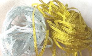 "Craft Sew Knit Narrow Ribbon 3mm (1/8"") - 2 x 10 metres - Gold & Silver Glitter"