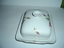 KPM Krister Germany Pink Roses Floral Butter Cheese Dish W Lid 628 1g