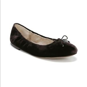 Sam Edelman Felicia Ballet Flats With Bow Velvet Dark Brown Sz 8.5