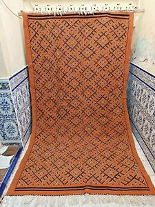 "Vintage Moroccan Rug Handmade Rug Old Kilim Wool Carpet Tribal Azilal 10' x 5'9"""