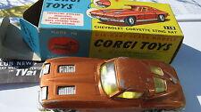 CORGI 310 CHEVY CORVETTE STINGRAY LIGHT PLAYWORN SO RARE CAR ORIGINAL & BOXED.