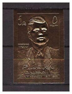 s14605) UMM AL QIWAIN 1967 MNH** Kennedy Gold Foil 1v Imperforated
