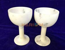 """5 """" Paire De Deux Blanc Marbre Naturel Onyx Vin Verre Best Birthday Cadeau D127"""