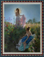 """Original Oil Painting art female Impressionism two young girl on canvas 30""""x40"""""""