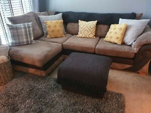Corner Sofa + 2 Seater + 2 Foot Stools