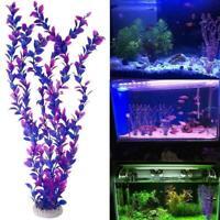 5pc Fish Tank Aquarium Ornament Artificial Plastic Purple Underwater Grass R4N8