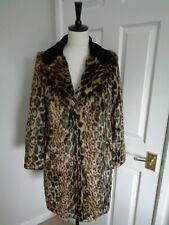 BNWT BIBA  Leopard Faux Fur & Black Velvet Winter Coat Jacket size 10