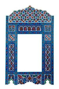 Moroccan farmhouse Blue hanging mirror frame, decor of wood, hand-painted