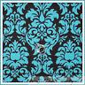 BonEful Fabric FQ Cotton Quilt brown Aqua Blue Damask Flower Leaf Scroll Calico