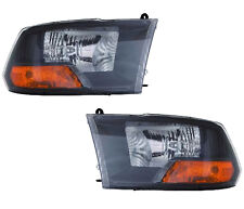 2009-2012 Dodge Ram 1500 New Performance Headlight Assembly Pair Black Bezel