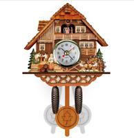 Vintage Wood Cuckoo Clock Wall Room Decor Cartoon Forest House Swing Clock