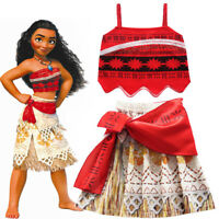 Kids Girls Moana Costume Princess Cosplay Party Fancy Dress Deluxe Dress Xmas