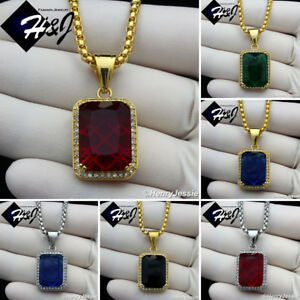 """18-36""""MEN Stainless Steel 3mm Silver/Gold Box Chain Black/Blue/Ruby Pendant*P98"""