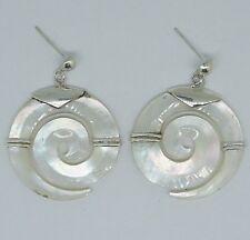 Madreperla espiral pendientes hechos a mano en 925 Plata Esterlina - 6 cm #G23