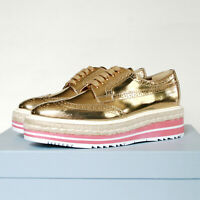 PRADA espadrille oxford shoes gold brogue pink platform wingtip sneaker 38.5 NEW
