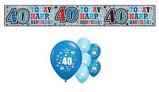 40th BIRTHDAY PARTY PACK DECORATIONS BANNER BALLOONS (SE.B.1)