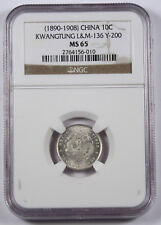 CHINA KWANGTUNG 1890-1908 10 Cent Silver Dragon Coin NGC MS65 L&M-136 7.2 Cand.
