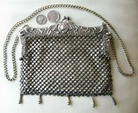 Antique German Silver Fancy Floral Frame 5 Tassel Lined Chain Mail Purse #12