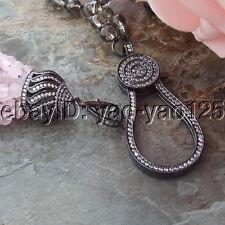 H061502 27'' Black Pearl Garnet Amethyst Smoky Quartz Necklace CZ Pendant