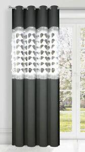 1 Stück Vorhang Gardine Fertiggardine Dunkelgrau Wohnzimmer Zirkonia 145x250 cm