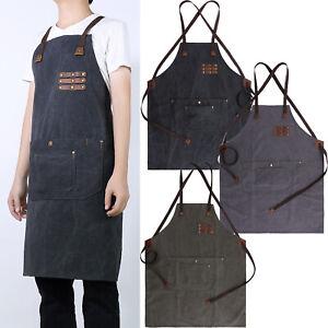 Men's Work Apron Canvas Leather Coffee Shop Apron Wear-resistant Vintage New