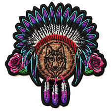 Embroidered Native Head Dress Roses and Wolf Sew or Iron on Patch Biker Patch