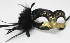 BLACK GOLD MASK WITH A FLOWER VENETIAN  MASQUERADE PARTY PROM EYE MASK WEDDING
