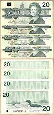 4 Different Signature Notes 1991 $20 Bank of Canada Bird Series, GEM UNC