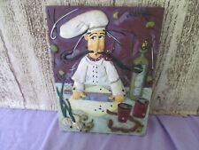 """Joanna Resin Chef plaque 4 1/2"""" wide 6 1/4"""" chef with rolling pin"""
