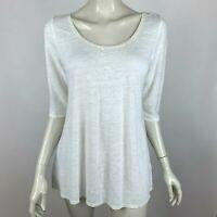 Eileen Fisher Short Sleeve Linen Top Sequin Scoop Neck Tunic Shirt Ivory Women S