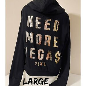Vintage Rare Victoria Secret PINK Bling Sequin Need More VegaS Hoodie Jacket Zip