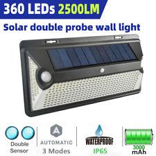 360 LED Solar Powered Outdoor Lights PIR Motion Sensor Wall Security Garden Lamp