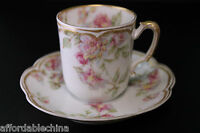 Haviland Limoges Schleiger 39 Double Gold Chocolate Demitasse Cup and Saucer -D