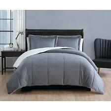 Vcny Home Micro Mink Sherpa 3-Piece Reversible Queen Comforter Set in Charcoal