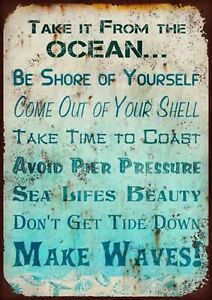 Inspirational (Ocean) metal wall sign