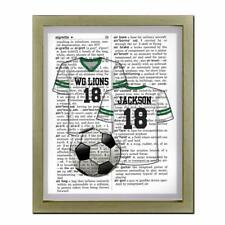 Personalized Soccer Jersey Team & Name Upcycled Dictionary Art Print Unique Gift