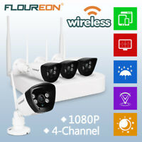 4CH Wifi Wireless Surveillance IP Camera NVR 1080P CCTV Home Security System Kit